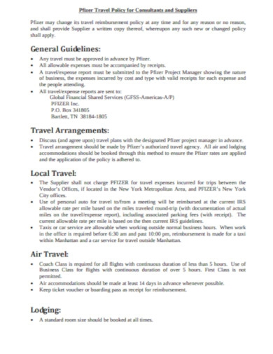 corporate travel policy procedure
