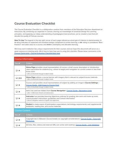 course evaluation checklist example