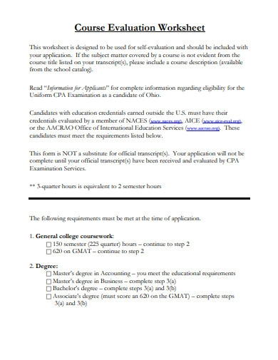 course evaluation worksheet example