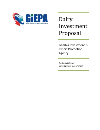dairy products investment proposal