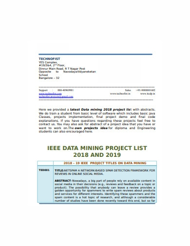 data mining project list