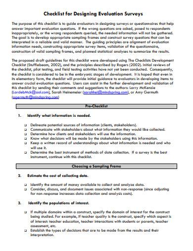 designing evaluation survey