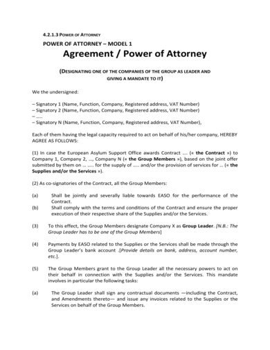 detailed power of attorney agreement