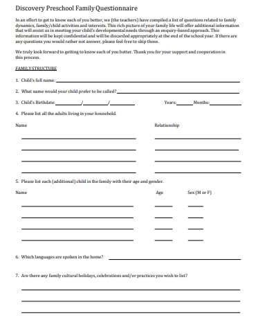 discovery preschool questionnaire
