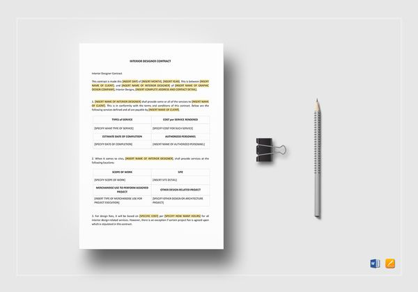 editable interior designer contract