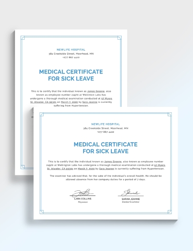 editable medical certificate for sick leave
