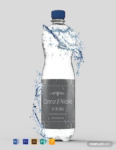 editable wedding water bottle label