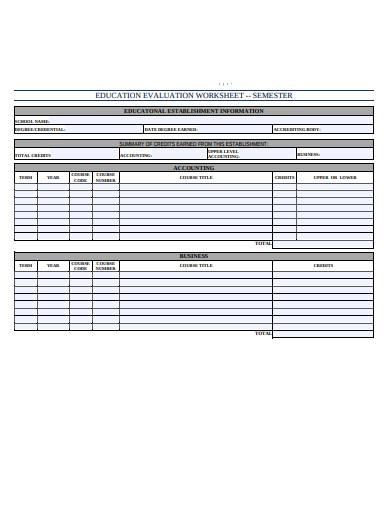 education evalution worksheet example