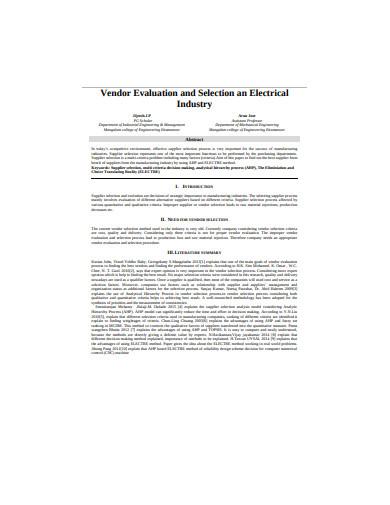 electrical industry vendor evalution in pdf