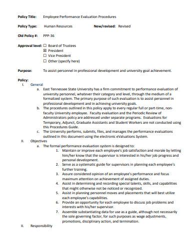 employee performance evaluation procedures policy