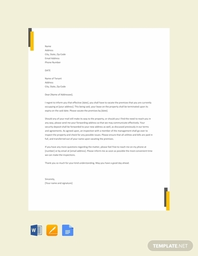 end of lease letter landlord to tenant