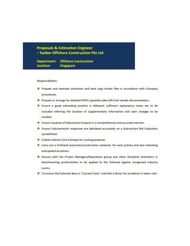 engineer estimation proposals template