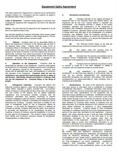 equipment sales agreement