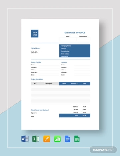 estimate invoice template
