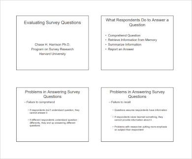 evaluating survey questionnaire