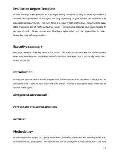 evaluation report template in pdf