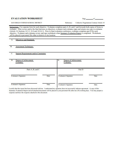 evaluation worksheet example template