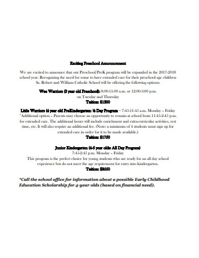 exciting preschool announcement