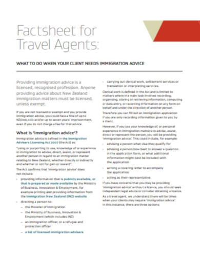 factsheet for travel agents