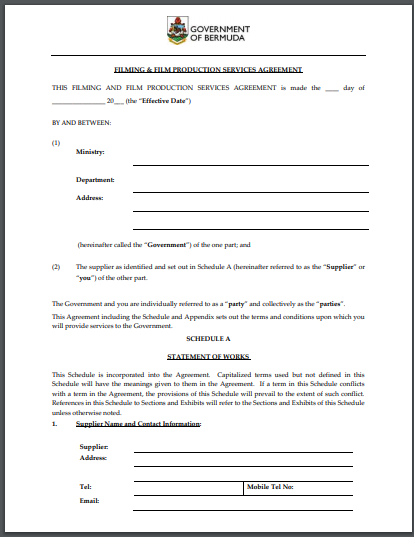 filming and film production services agreement