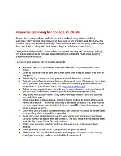 financial planning for college student