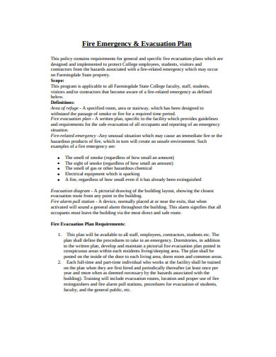 fire emergency and evacuation plan in pdf