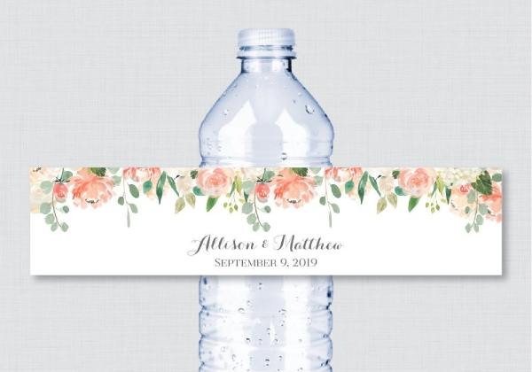 Wedding Water Bottle Label Template from images.examples.com