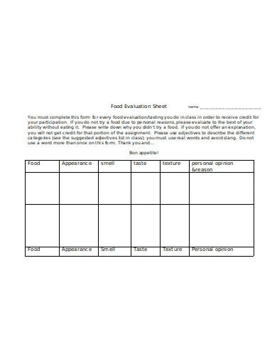 food evaluation sheet in doc