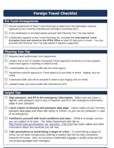 foreign travel planning checklist