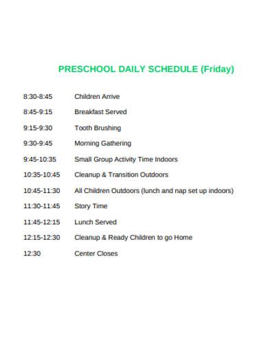 formal preschool daily schedule