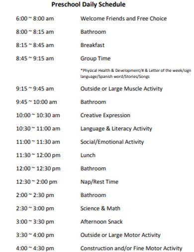 formal preschool daily schedule example