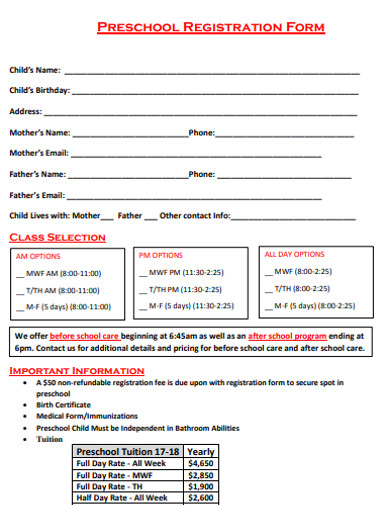 formal preschool registration form