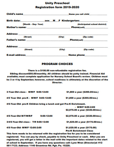 formal preschool registration form example