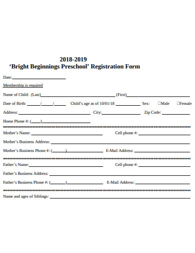 formal preschool registration form in pdf