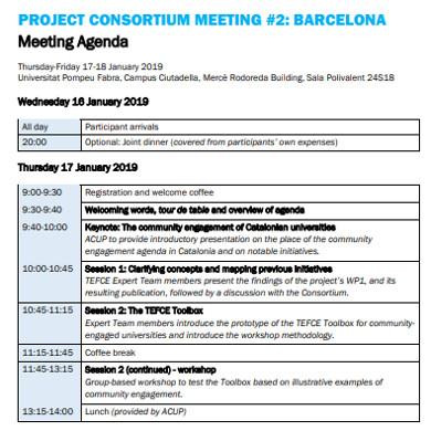 formal project agenda