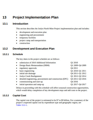 formal project implementation plan