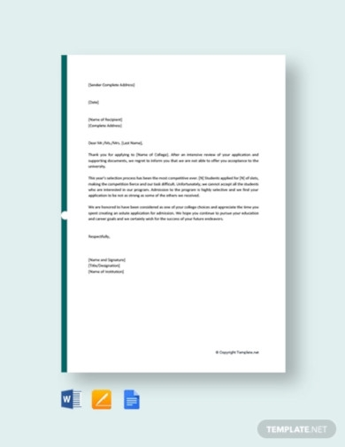 free college application rejection letter