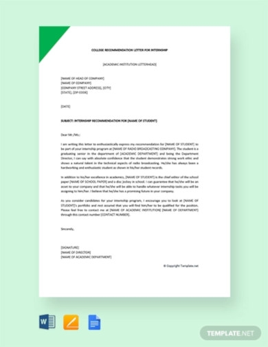 free college recommendation letter for internship