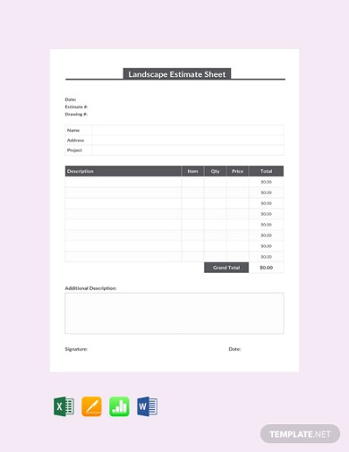 free landscape estimate sheet template1