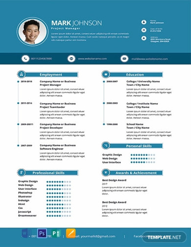 free modern project manager resume