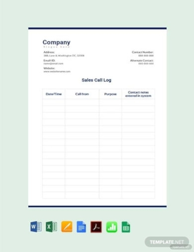 free outside sales call log template