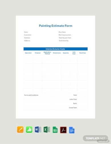 free painting estimate form template1