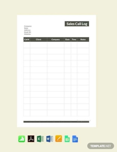 free sales call log template