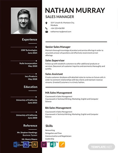 free sales manager resume template
