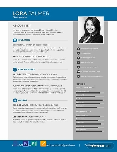free simple photographer resume1