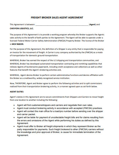 freight broker sales agency agreement
