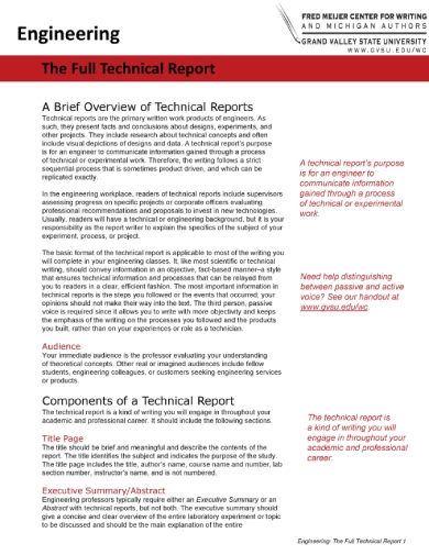 full engineering technical report