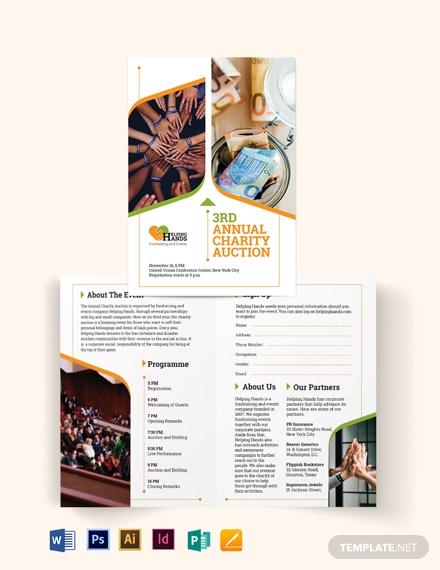 fundraising event bi fold brochure template1