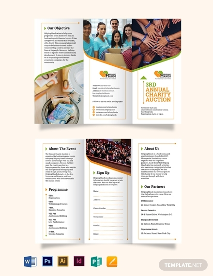 fundraising event tri fold brochure template