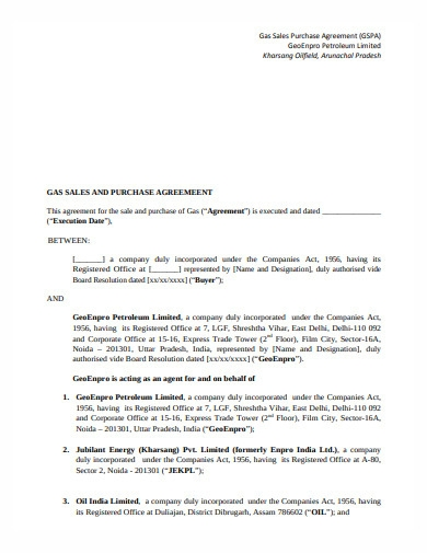 gas purchase and sale agreement